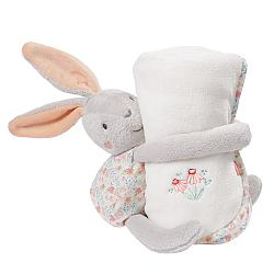 Cuddly toy hare with blanket